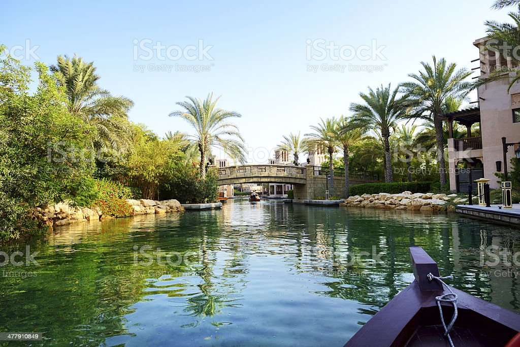 The channel in Souk Madinat Jumeirah, Dubai, UAE stock photo