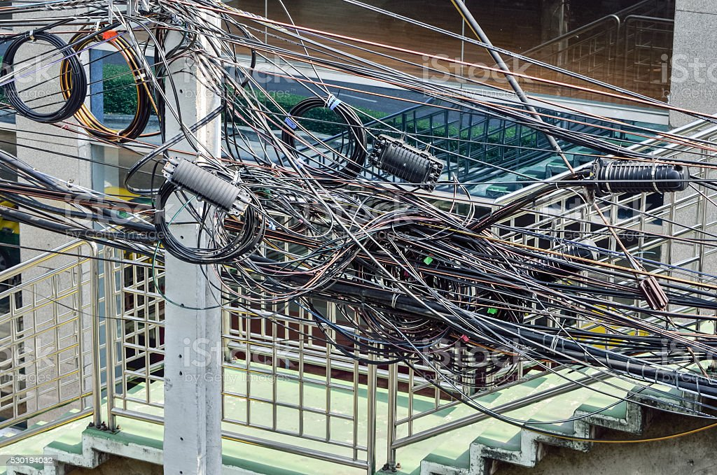 The chaos of cables and wires stock photo