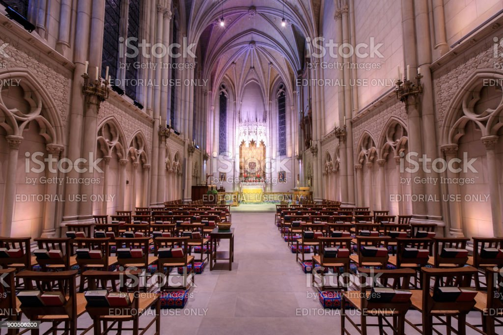 The Chapel of Grace is an intimate side chapel attached to the main church and is the oldest part of the cathedral. It has 15 stained glass windows and the beautiful acoustics make it an ideal space for smaller, more intimate weddings. stock photo