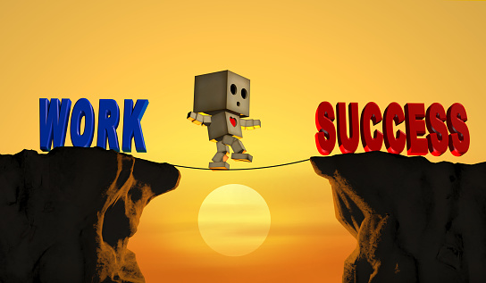 The character is climbing a rope on a high place. To jump to the goal and success.3D Render.