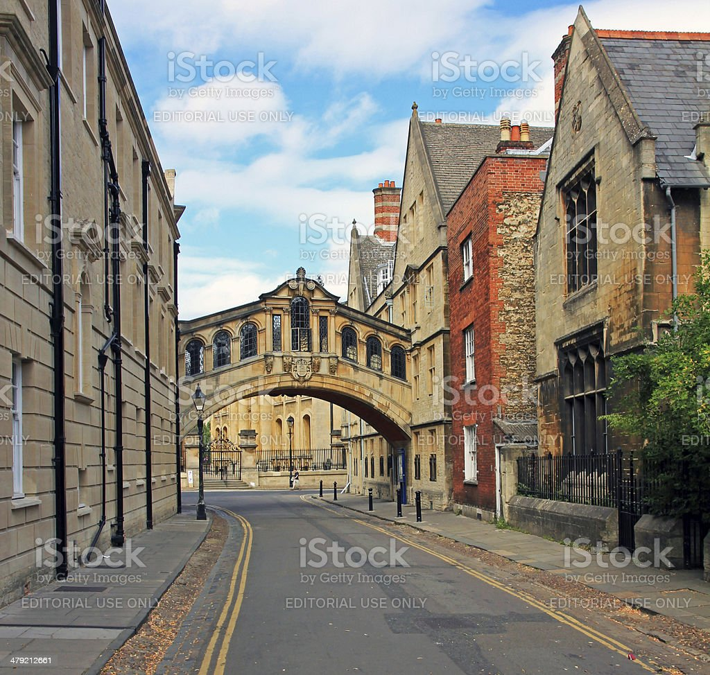 The characteristic Bridge of Sighs and surrounding houses, oxfor stock photo