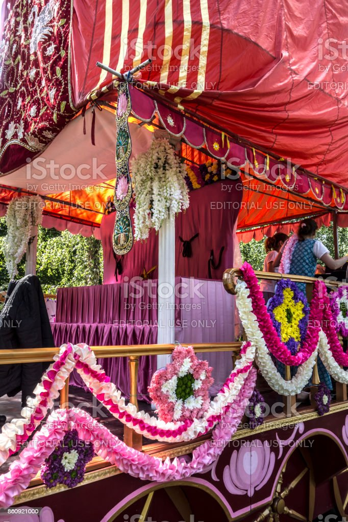 The chariot's decortion before the festive procession begins stock photo