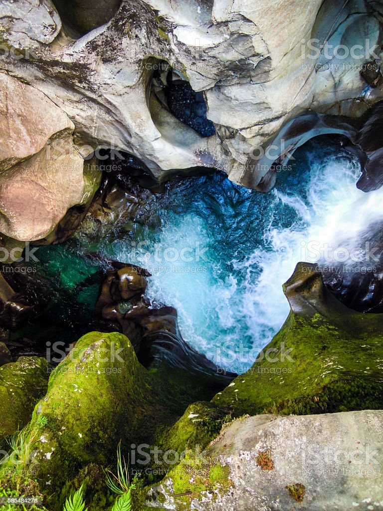 The Chasm - beautiful and impressive river in Milford stock photo