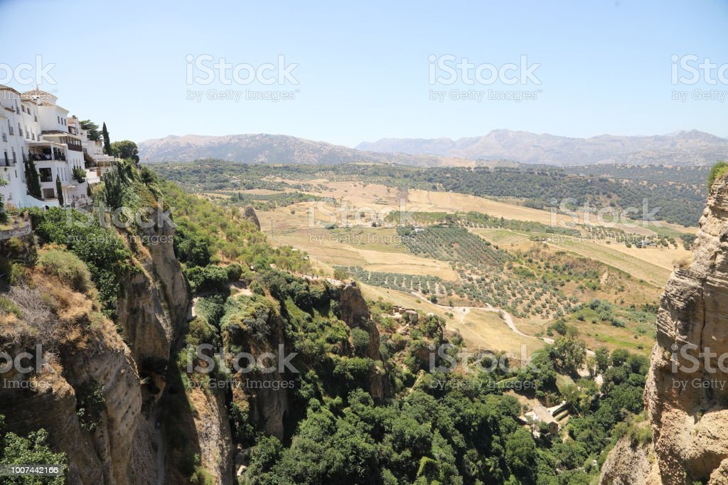 The chasm in Ronda Andalusia, Spain stock photo