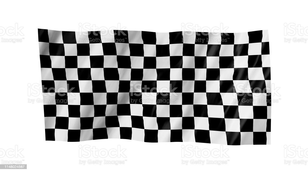 The checkered flag in 3d.The flag of car races, waving in the wind,...