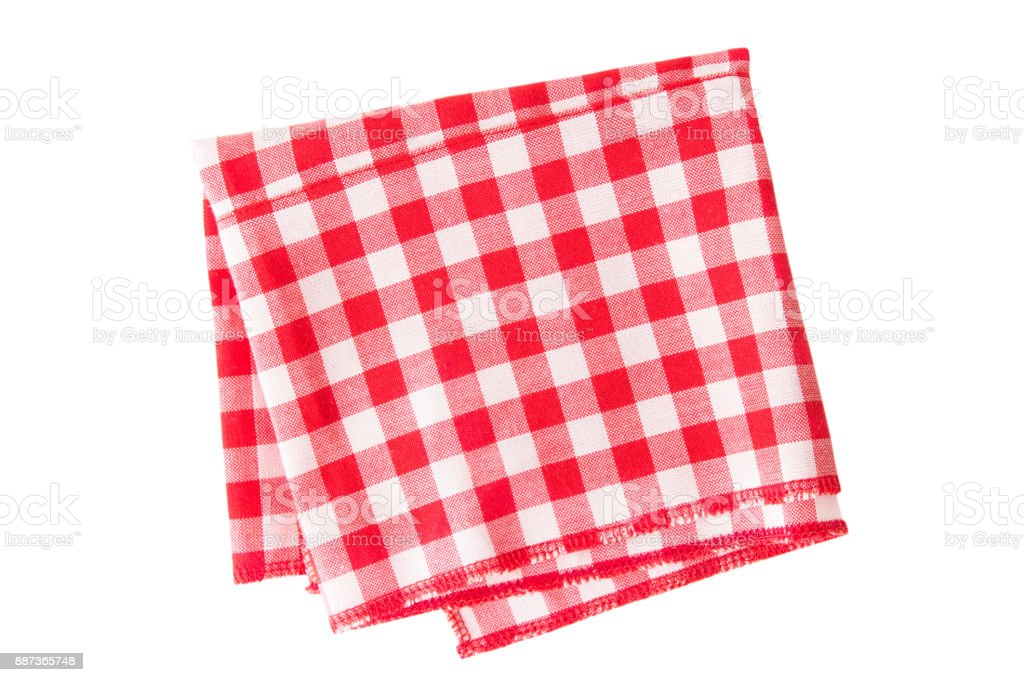 The checkered tablecloth isolated stock photo