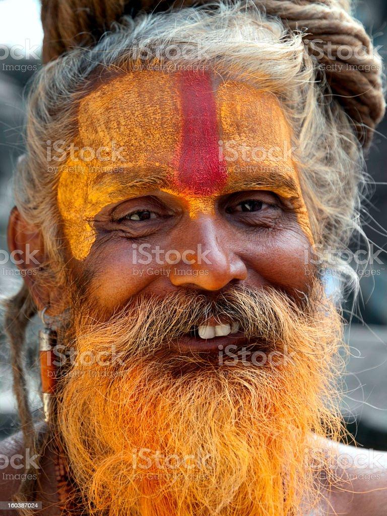 The cheerful sadhu. royalty-free stock photo
