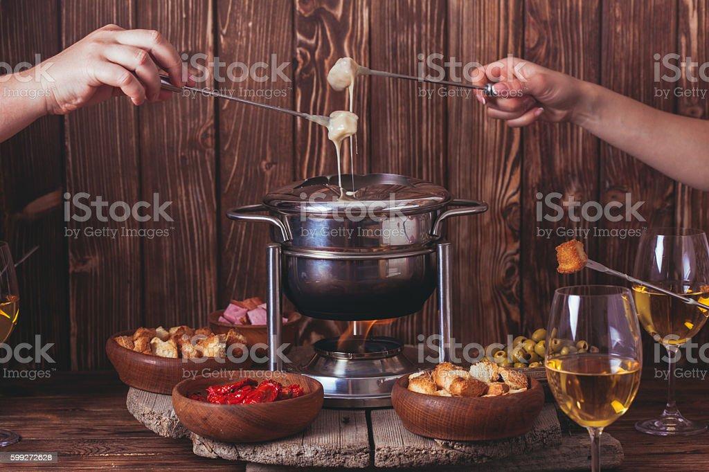 The cheese fondue stock photo