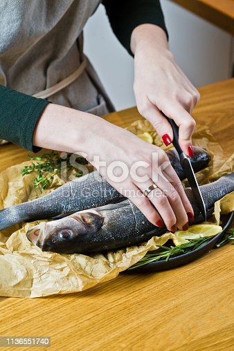 496065234istockphoto The chef prepares sea bass on a wooden table. Black background, side view, space for text. 1136551740