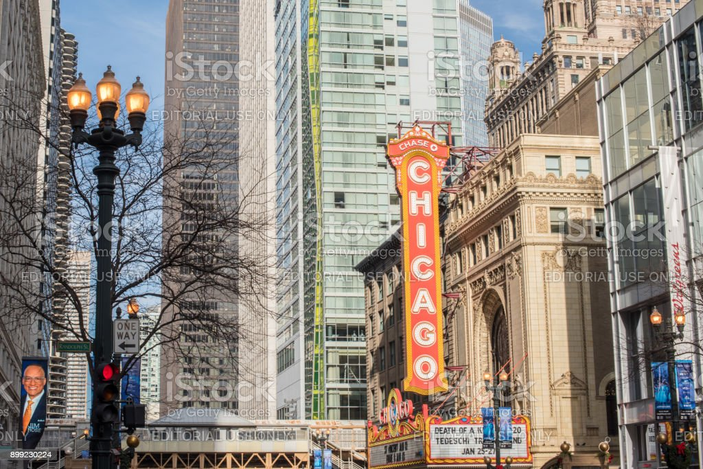 The Chicago Theater sign downtown Chicago stock photo