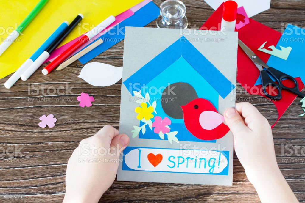 The Child Create A Spring Greeting Card Paper Bird And Birdhouse