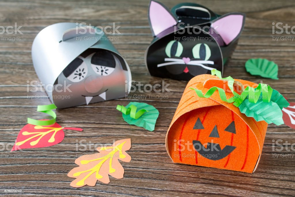 The Child Creates A Gift Box Of A Black Cat Of Halloween A Halloween