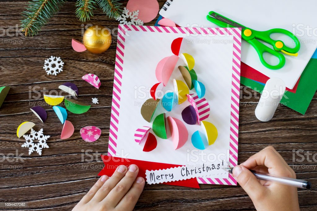 The Child Draws Details Christmas Tree Greeting Card