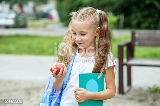 istock The child is holding a book and an apple. The concept of school, study, education, friendship, childhood 1026602820