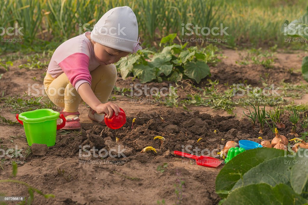 the child puts green onions in the garden Lizenzfreies stock-foto