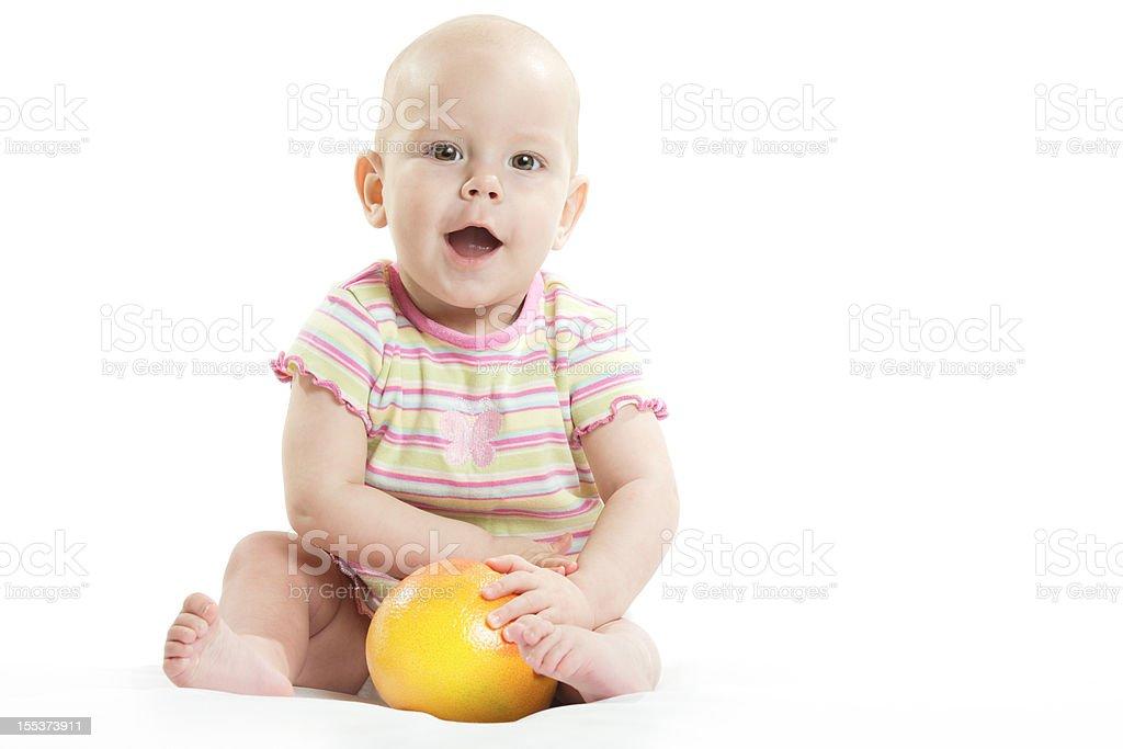 The child with orange royalty-free stock photo