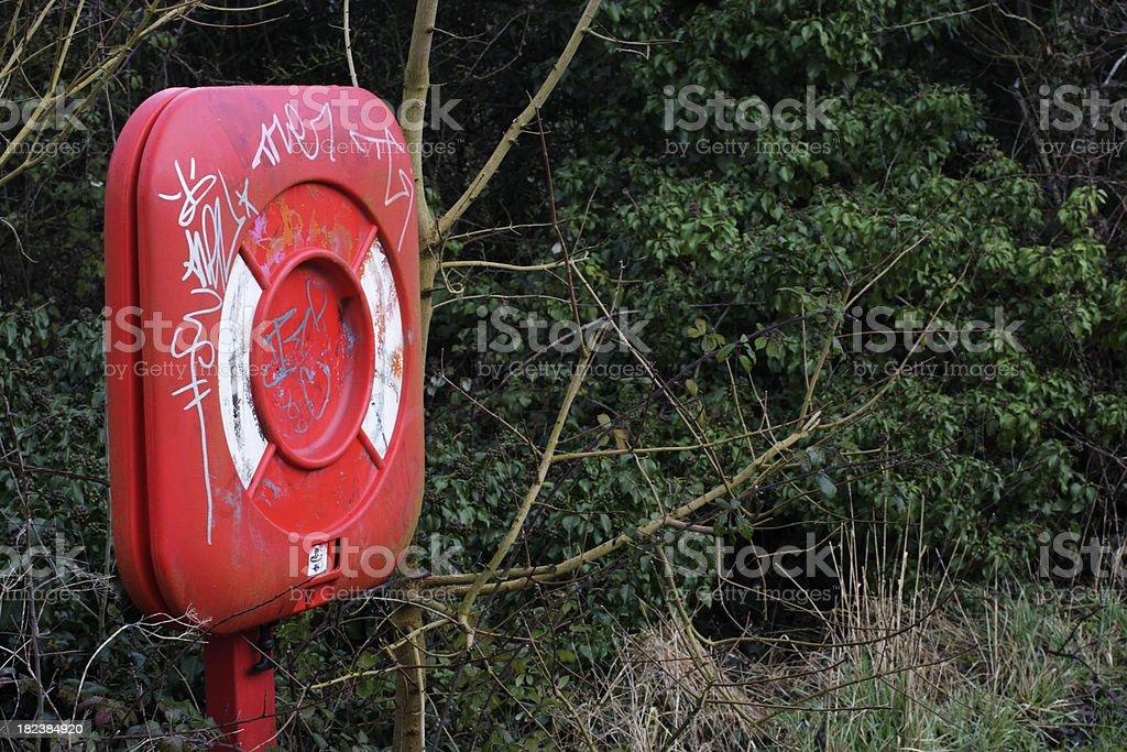 Graffiti ignorance on lifebelt station beside Wilts and Berks Canal stock photo