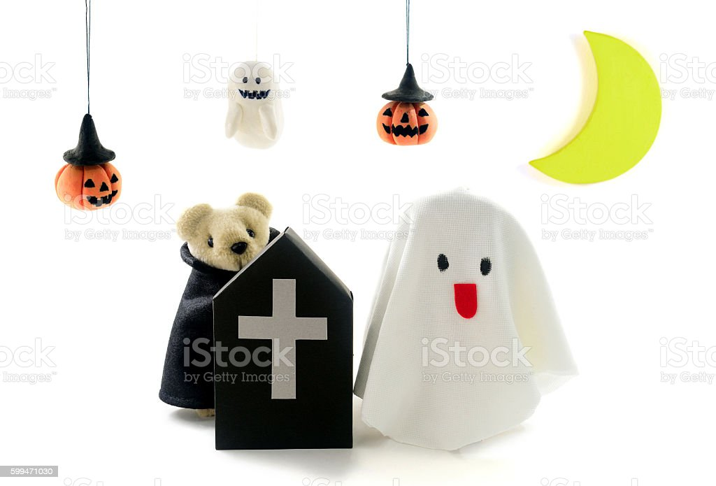 The children who do a disguise on Halloween stock photo