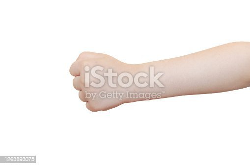 The child's hand gesturing
