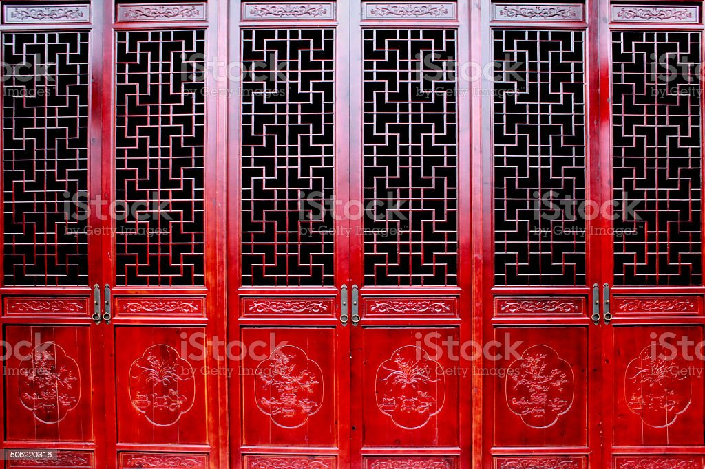 The Chinese antique door stock photo
