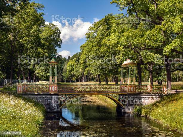 Photo of The Chinese bridge over the canal in the Alexander Park in Tsarskoye Selo in summer on a sunny, clear day
