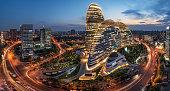 Beijing,China-July 13th,2016:cityscape and famous landmark building,WangJing Soho at night.