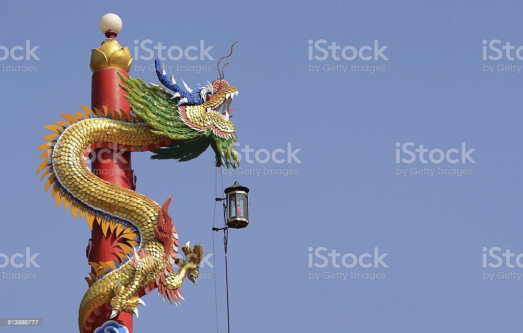 Statua Di Drago Cinese Con Cielo Blu Sfondo Fotografie Stock E
