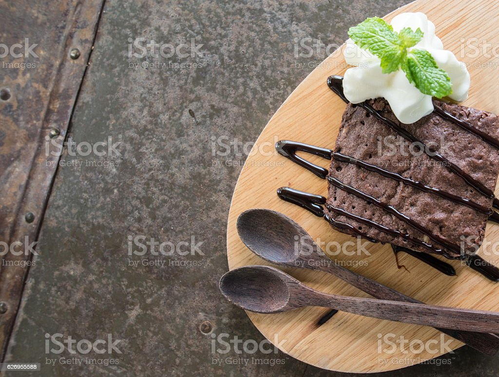The chocolate brownies with empty space. stock photo
