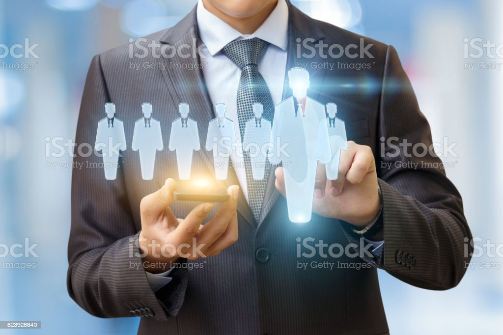 The choice of the employee using the phone. stock photo