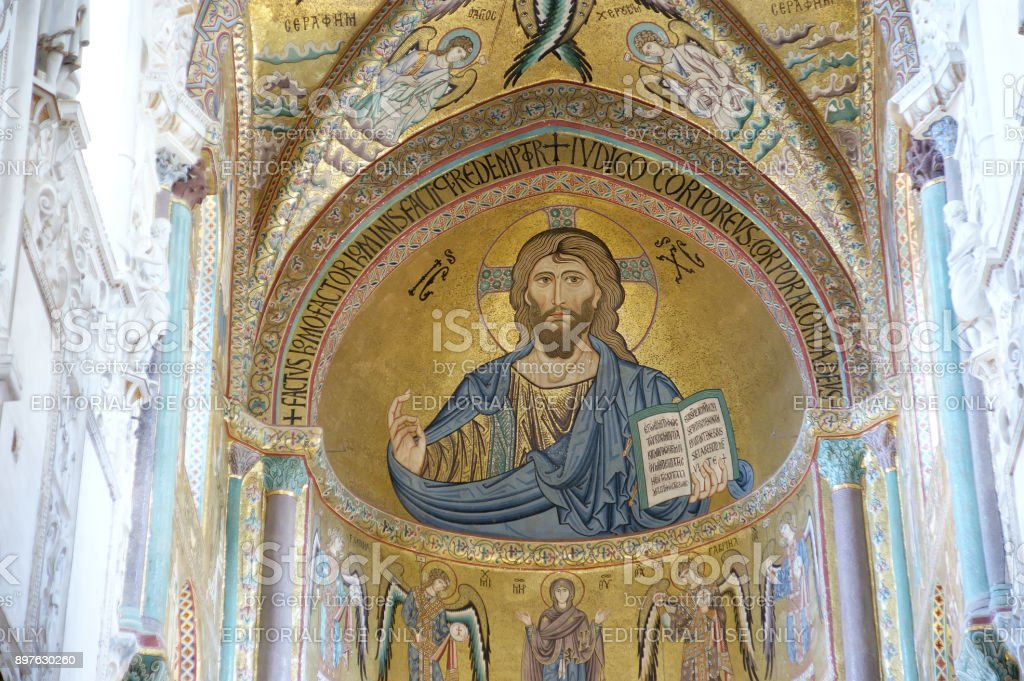 The Christ Pantokrator, Cathedral-Basilica of Monreale, is a Roman Catholic church in Monreale, Sicily, southern Italy stock photo