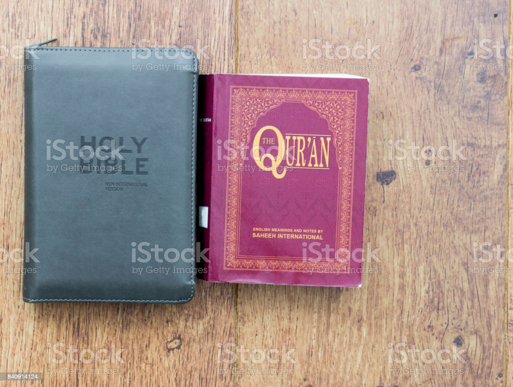The Christian Bible and the Islamic Quran stock photo