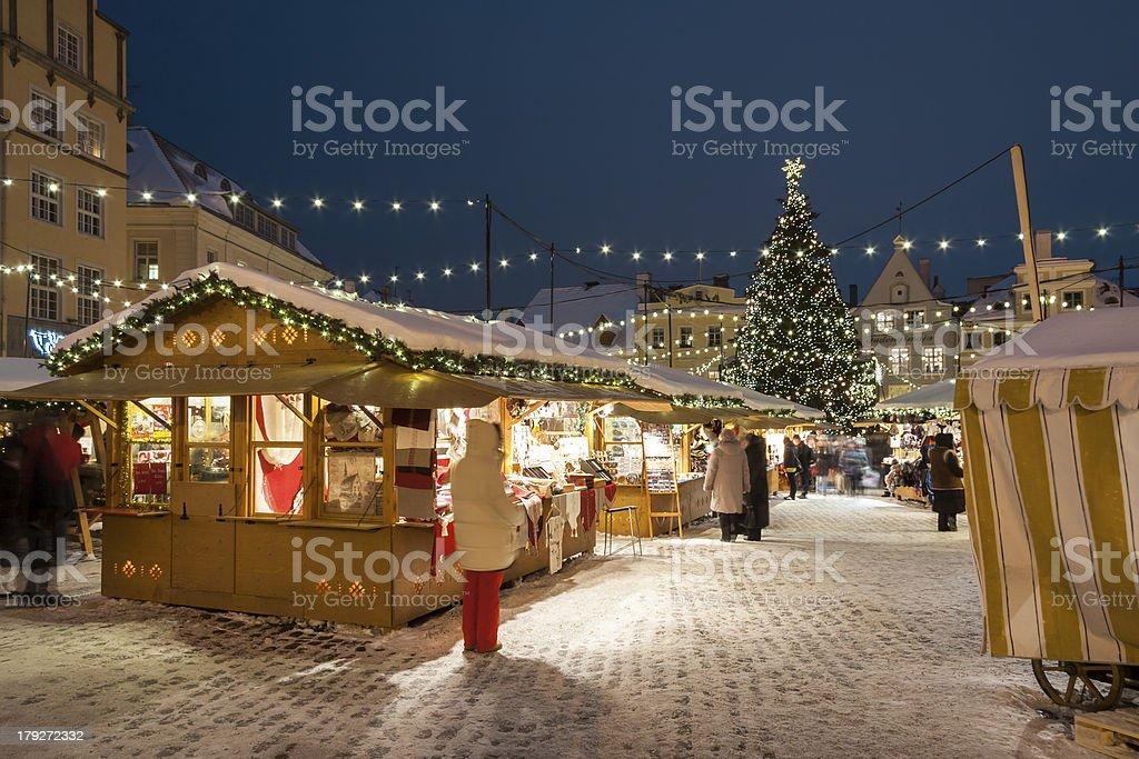 The Christmas market in Tallinn, Estonia stock photo
