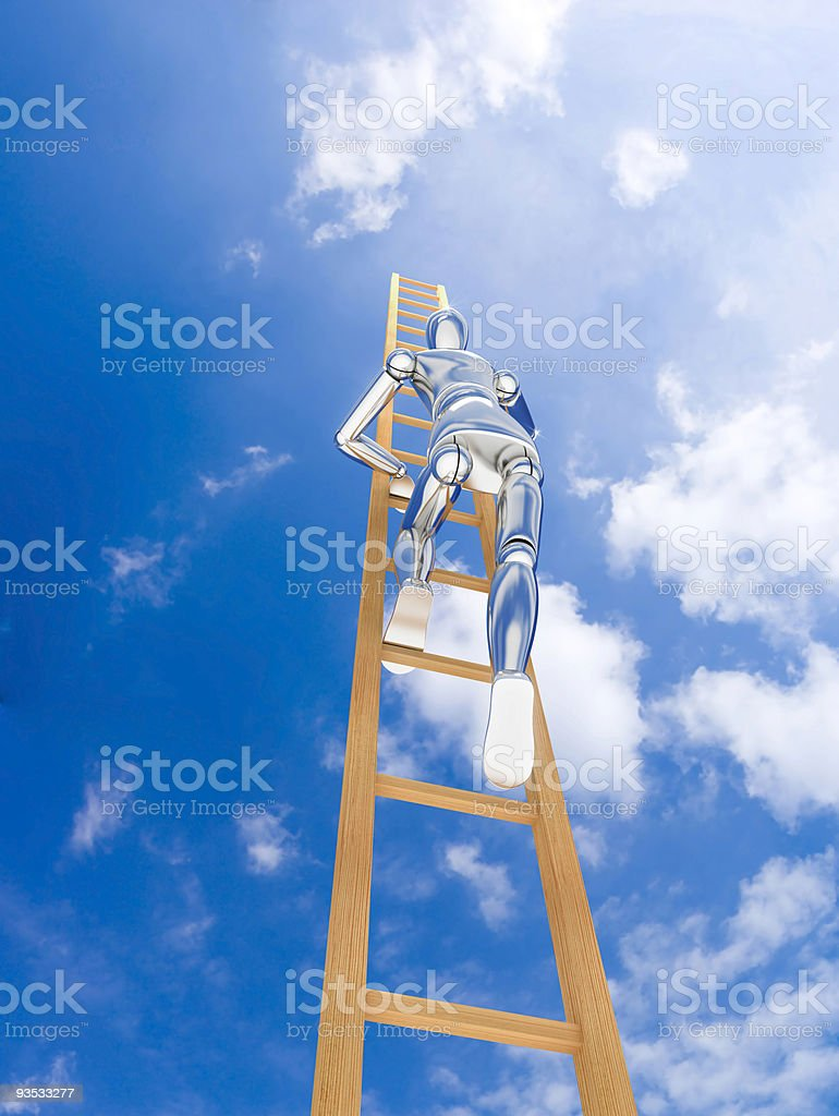 The chromeplated person clambers upwards on a ladder royalty-free stock photo