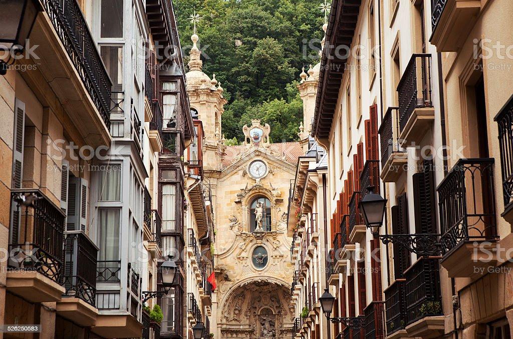 The church in the old town of San Sebastian. stock photo