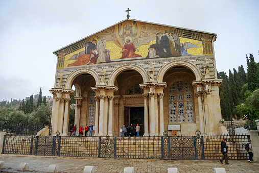 The Church of All Nations or Basilica of the Agony, is a Roman Catholic church near the Garden of Gethsemane at the Mount of Olives in Jerusalem, Israel.