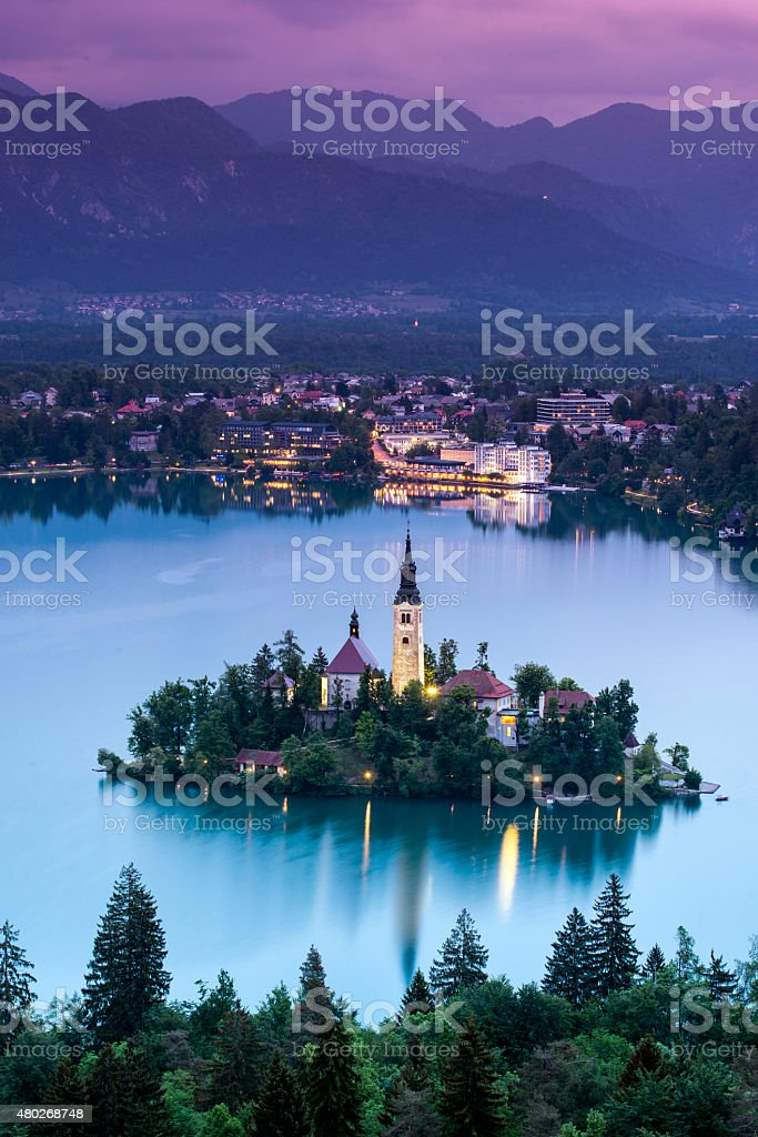The church of Assumption in Lake Bled, Slovenia stock photo