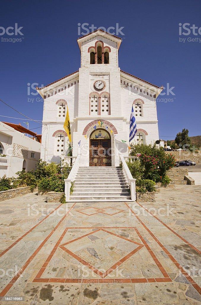 The church of Batsi, Andros stock photo