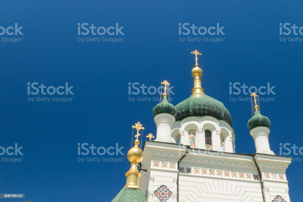 The Church of Christs Resurrection on blue sky background. Historical monument of Foros. popular tourist attraction on the outskirts of Yalta in the Crimea. stock photo