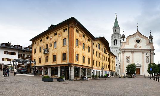 The Church of Cortina d'Ampezzo (Sesto Dolomites). Veneto Italy, Europe.