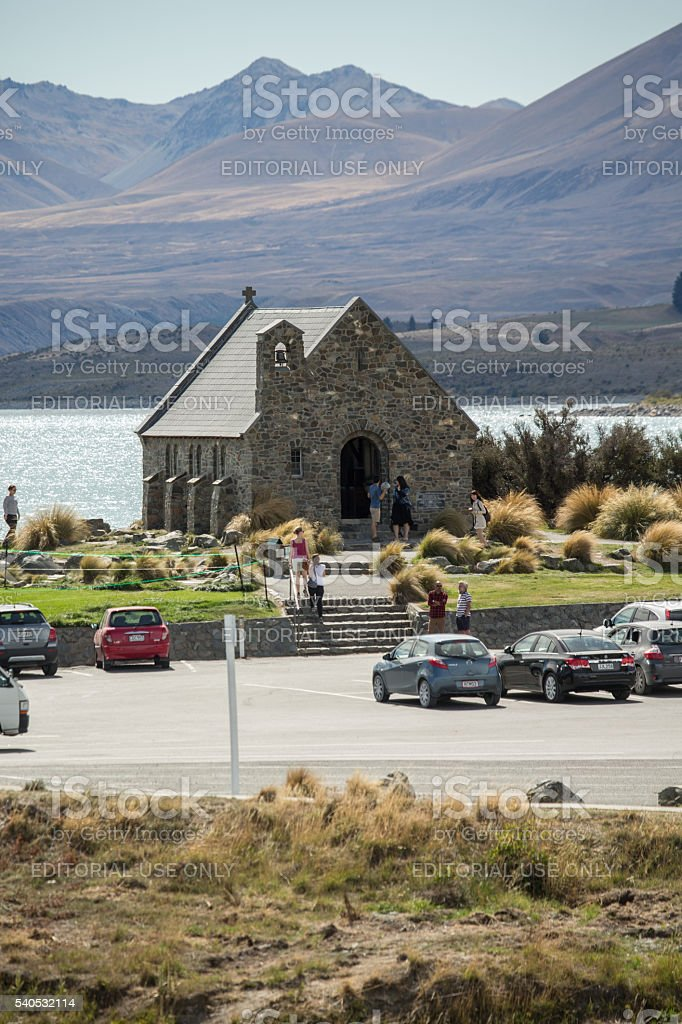 The Church of Good Shepherd, Lake Tekapo, Canterbury, New Zealand stock photo