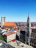 Munich, Germany - June 28, 2019: The Church of Our Lady Frauenkirche in Munich Germany, Bavaria that serves as the cathedral of the Archdiocese of Munich and Freising and seat of its Archbishop. View from Sacred Peter's Church