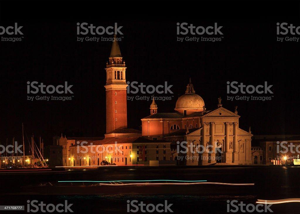 The church of San Giorgio Maggiore in Venice at night royalty-free stock photo