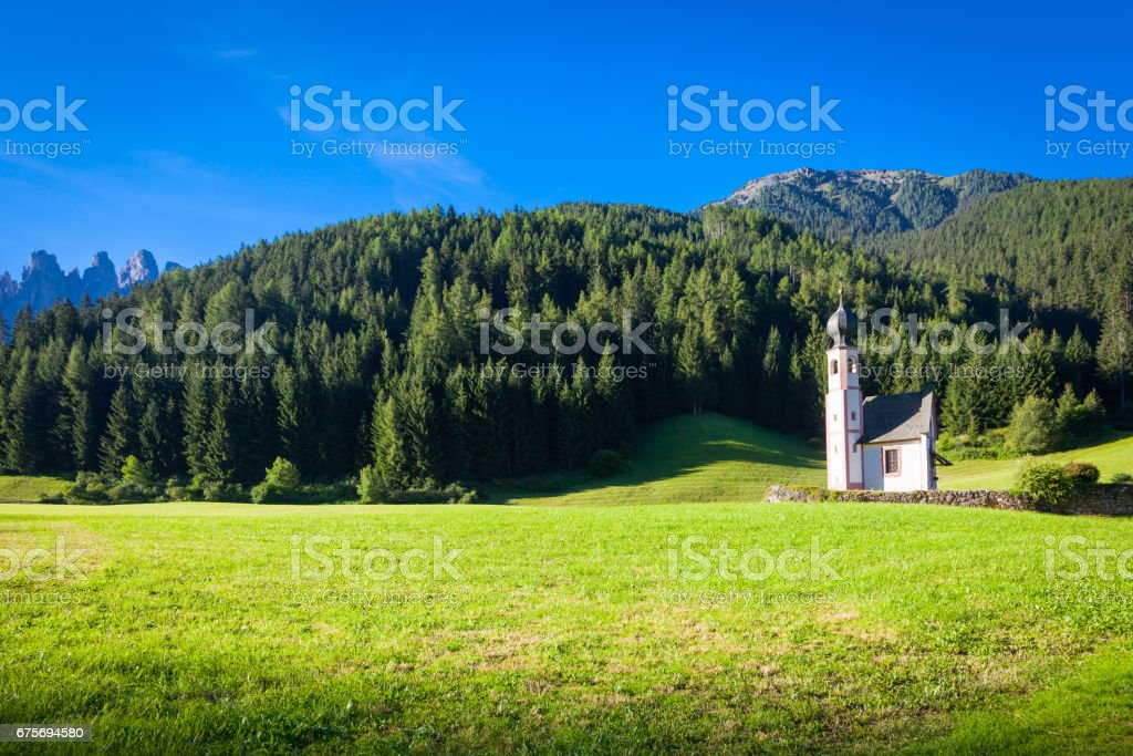 The Church of San Giovanni in Dolomiti Region - italy stock photo