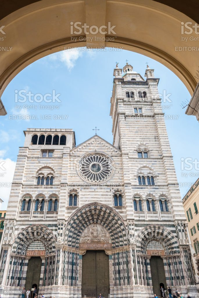 The church of 'San Lorenzo', cathedral of Genoa stock photo