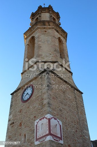 Montferri, Tarragona, Catalonia / Spain - May 21 2020: The church of Sant Bartomeu in the village of Montferri