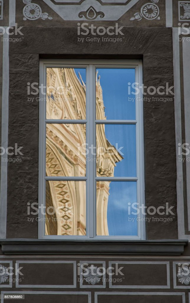 The church of Santa Croce reflected stock photo