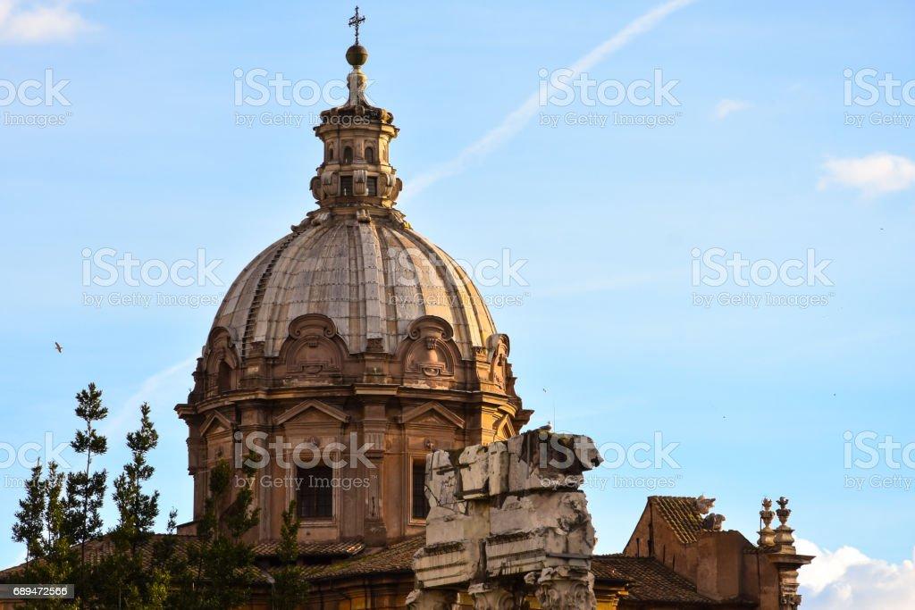 The Church of Santi Luca e Martina. Trajan's Forum (Foro di Traiano) stock photo