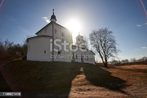 Horizontal shot of Church of St. Nicholas on the ancient Truvor settlement in Izborsk. Russia