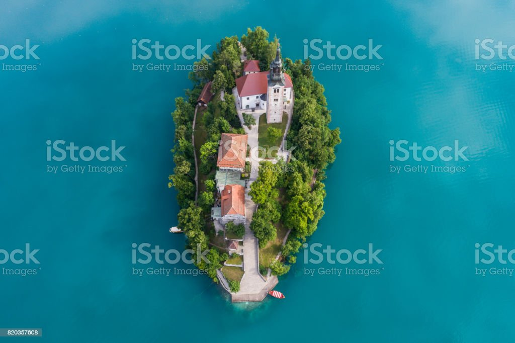 The Church of the Assumption, Bled, Slovenia stock photo