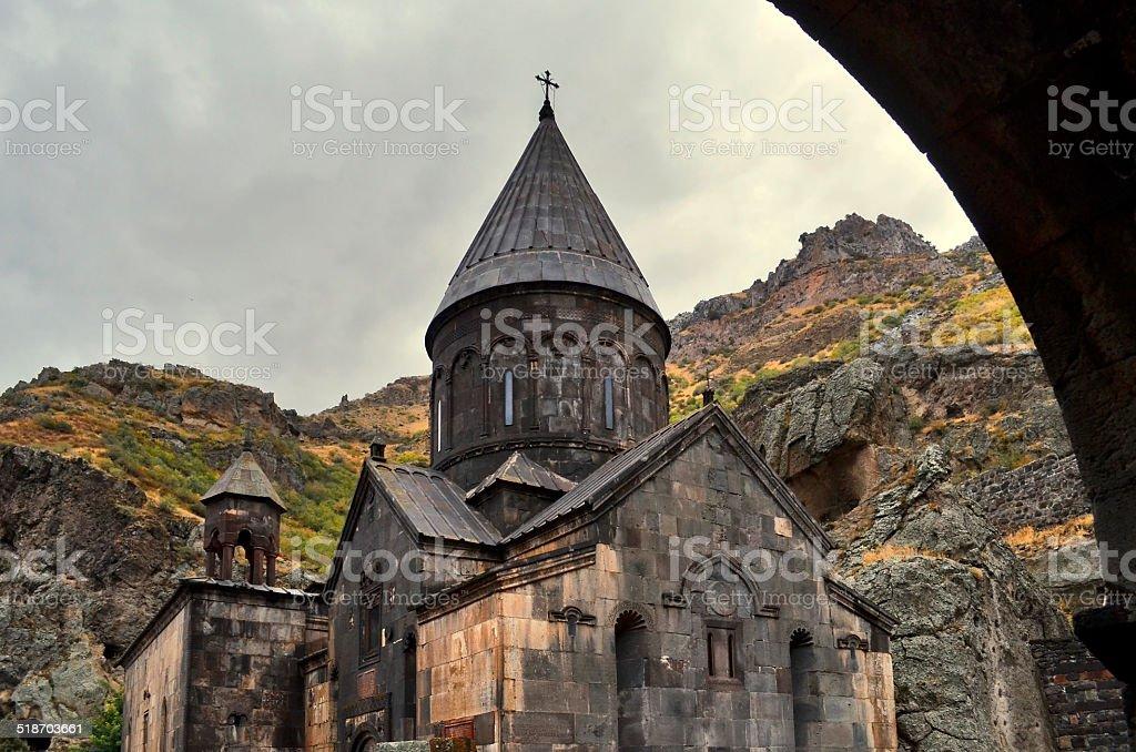 The church of the Geghard monastery stock photo